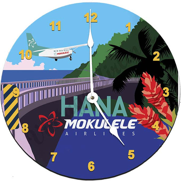 Mokulele Airlines Clock with illustration of Hana