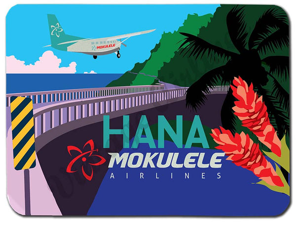 Mokulele Airlines Cutting Board with illustration of Hana
