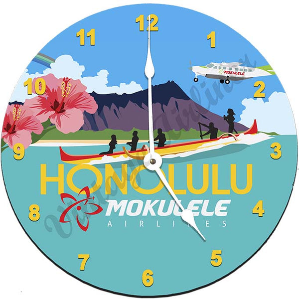 Mokulele Airlines Clock with illustration of Honolulu