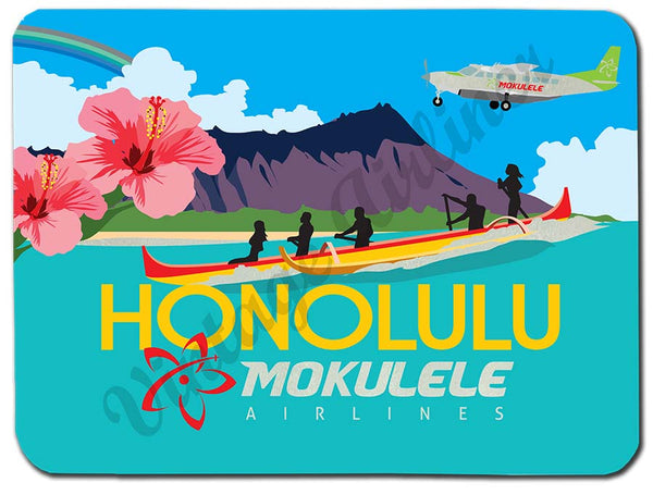 Mokulele Airlines Cutting Board with illustration of Honolulu