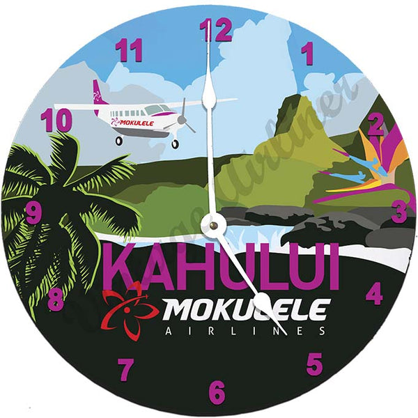 Mokulele Airlines Clock with illustration of Kahului
