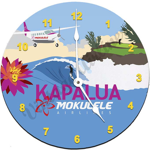 Mokulele Airlines Clock with illustration of Kapalua