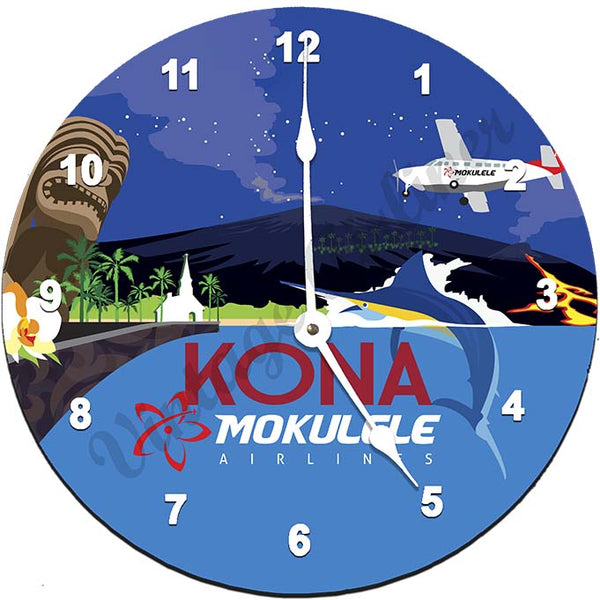 Mokulele Airlines Clock with illustration of Kona