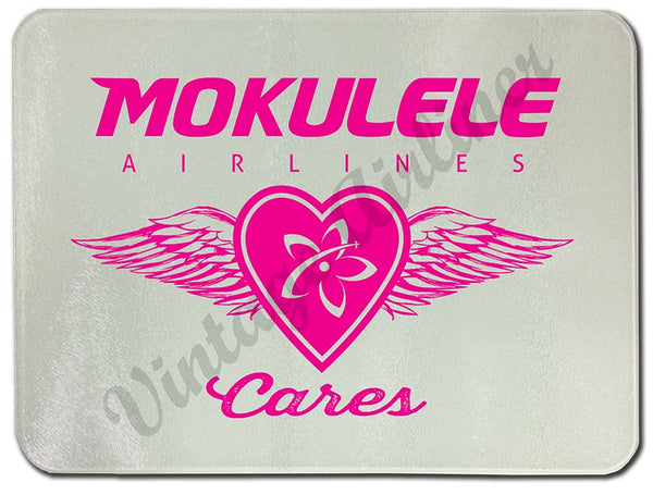Mokulele Airlines Cutting Board with breast cancer awareness logo