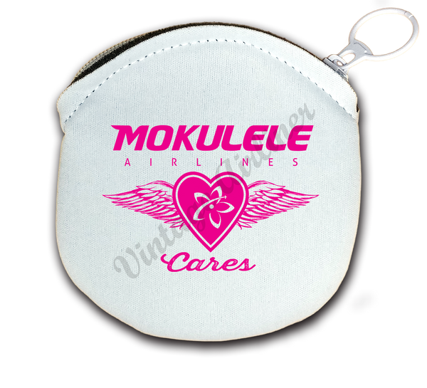 Mokulele Airlines breast cancer awareness logo round coin purse