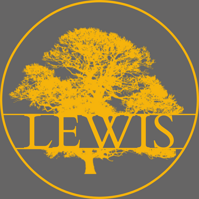 "Yellow sign with the silhouette of an oak tree and the last name ""lewis"" going through the tree. It is surrounded by a solid yellow circle. All of this is on a grey background."