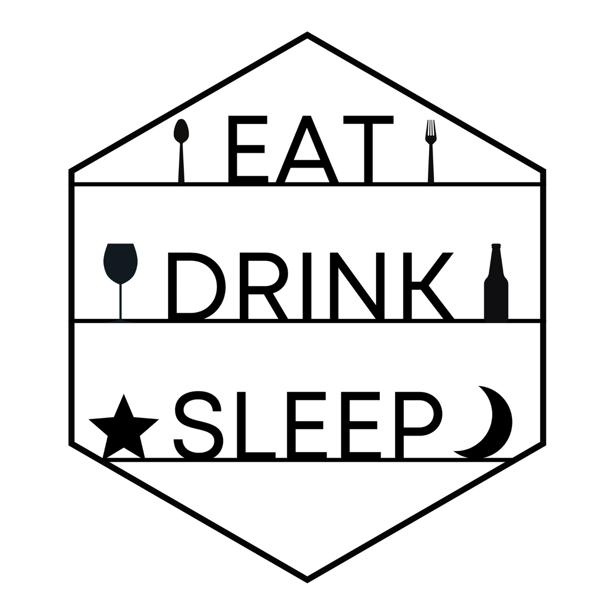 Hexagon Eat - Drink - Sleep Sign