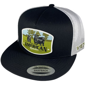 American Rancher - Angus Cow/Calf Patch - Black/White Mesh