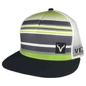 The Baller - Black/Charcoal-Lime Green Stripes/White Mesh