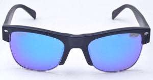 Vexil Brand Odessa Sunglasses - Black Matt - Blue Mirrored Polarized Lens