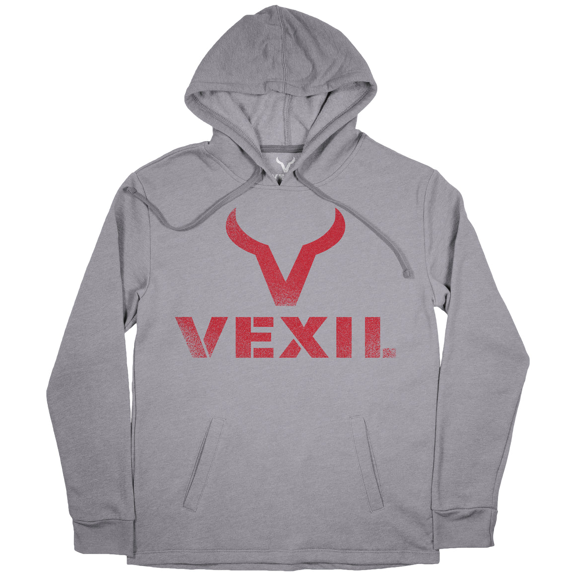 Vexil Brand - Hoodie - Distressed Logo - Heather Grey