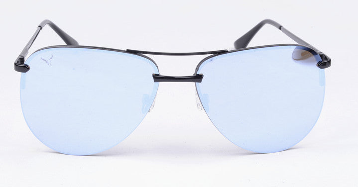 Vexil Brand Sedona Sunglasses - Black Metal - Light Blue Mirrored Lens