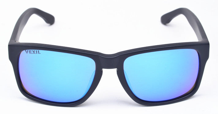 Vexil Brand Bandera Sunglasses - Black Matt - Blue Mirrored Polarized Lens