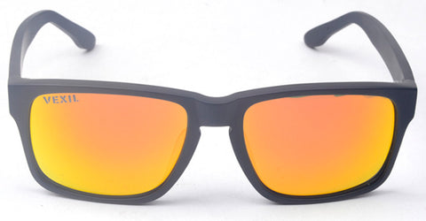 Vexil Brand Bandera Sunglasses - Black Matt - Orange Mirrored Polarized Lens