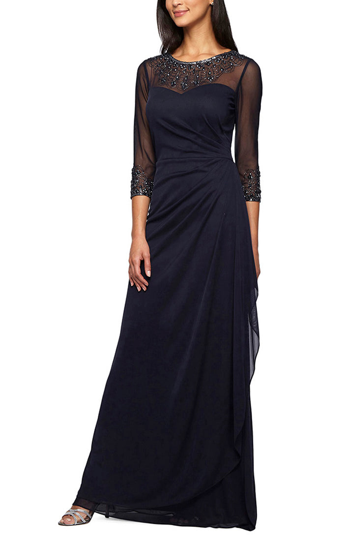 A-Line Mesh Gown with Beaded Illusion Neckline & Sleeves
