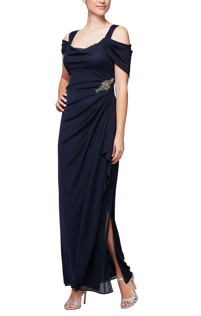 Cold Shoulder Cowl Neck Mesh Gown with Overlay Skirt & Embellished Hip Detail