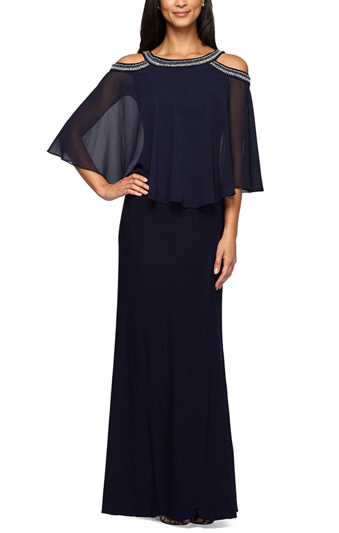 Cold Shoulder Popover Gown with Beaded Neckline