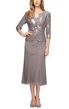Load image into Gallery viewer, Tea-Length Firework Sequin Jacket Dress