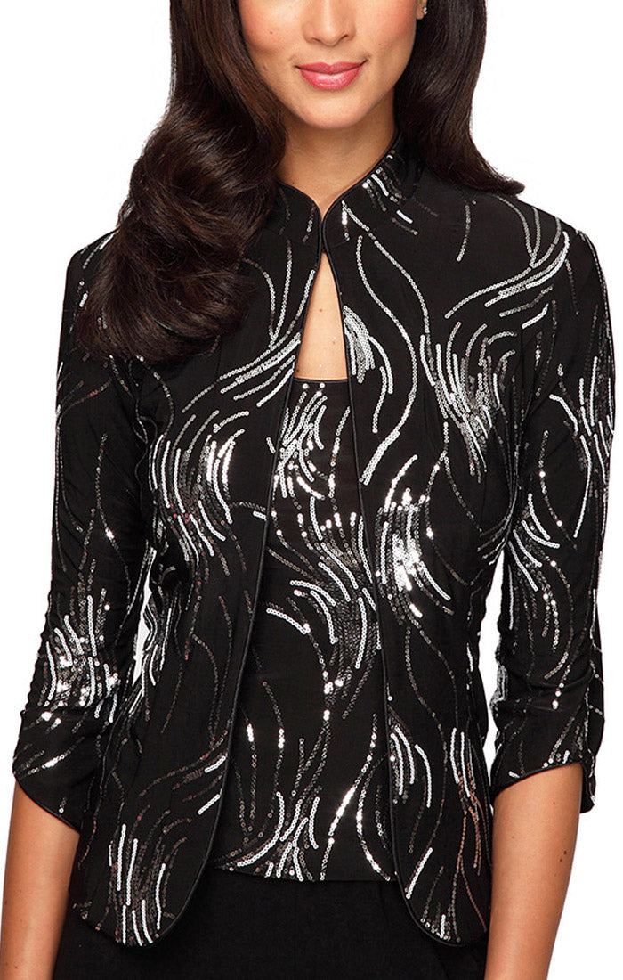 Firework Sequin Twinset with Mandarin Neck Jacket