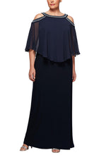 Load image into Gallery viewer, Cold Shoulder Popover Gown with Beaded Neckline