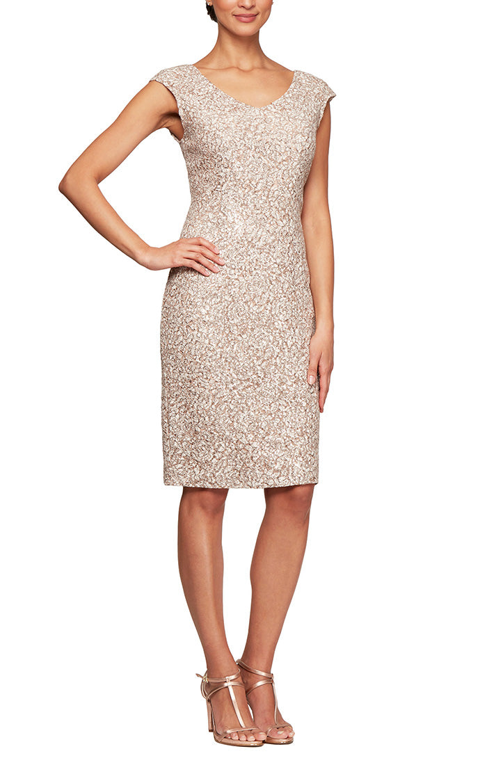 Short Lace V-Neck Sheath Dress with Cap Sleeves & Cording Detail
