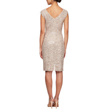 Load image into Gallery viewer, Short Lace V-Neck Sheath Dress with Cap Sleeves & Cording Detail