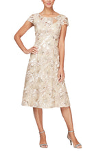Load image into Gallery viewer, A-Line Soutache Dress With Cap Sleeves & Illusion Neckline