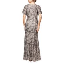 Load image into Gallery viewer, Long Stretch Lace V-Neck Dress With Flutter Sleeves & Sequin Detail
