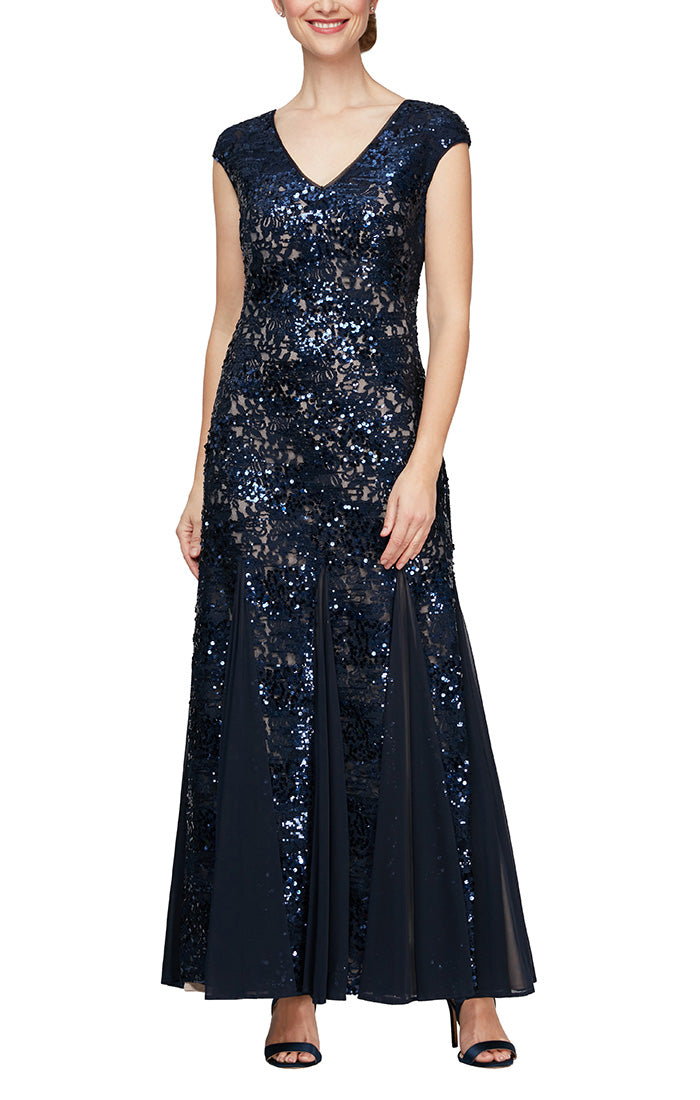 Long V-Neck Fit and Flare Sequin Gown With Cap Sleeves, Illusion Neckline & Godet Detail Skirt