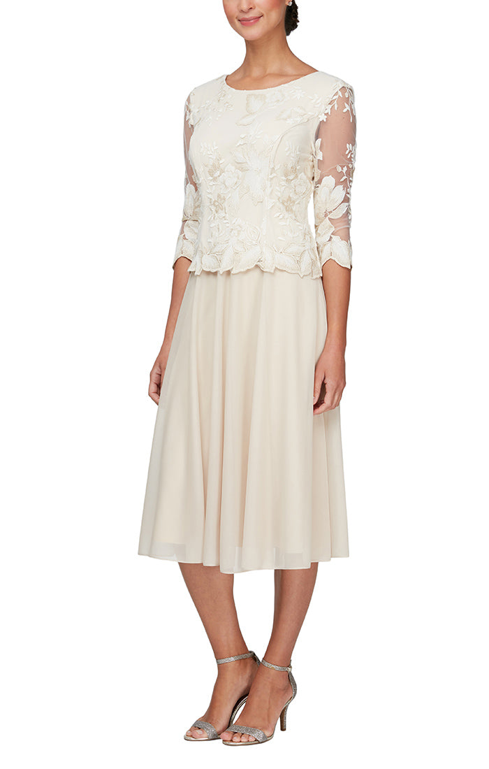 Tea Length Embroidered Mock Dress with Illusion Sleeves, Scallop Detail and Full Chiffon Skirt