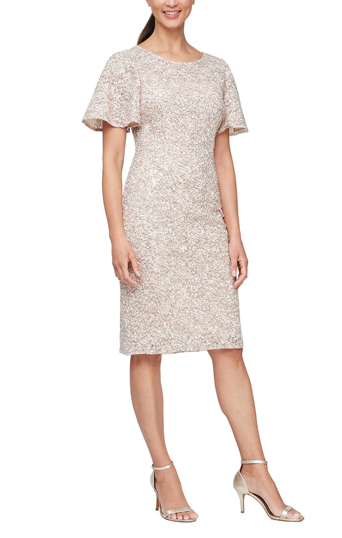 Short Corded Lace Sheath Dress Wiith Flutter Sleeves