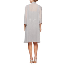 Load image into Gallery viewer, Short Embroidered Sweetheart Neckline Dress With Elongated Chiffon Jacket