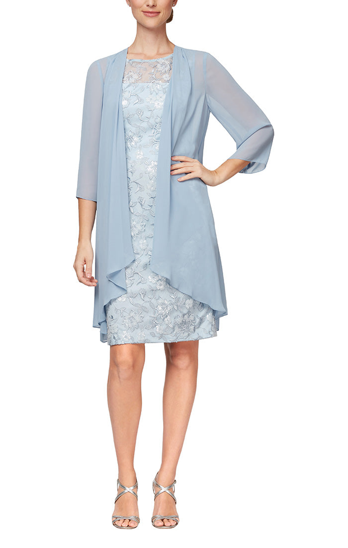 Short Embroidered Sheath Dress With Illusion Neckline & Elongated Cascade Ruffle Chiffon Jacket