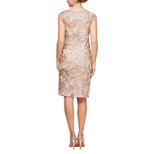 Load image into Gallery viewer, Short V-Neck Embroidered Cocktail Dress With Cap Sleeves & V-Neckline