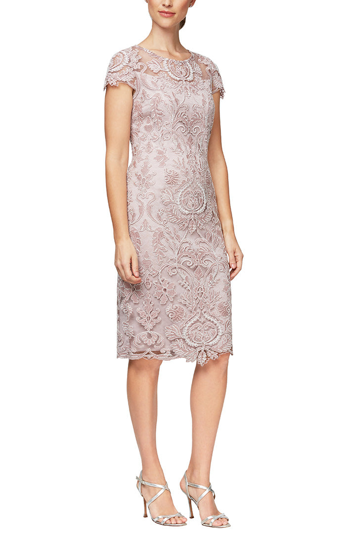 Short Embroidered Lace Cocktail Dress With Cap Sleeves