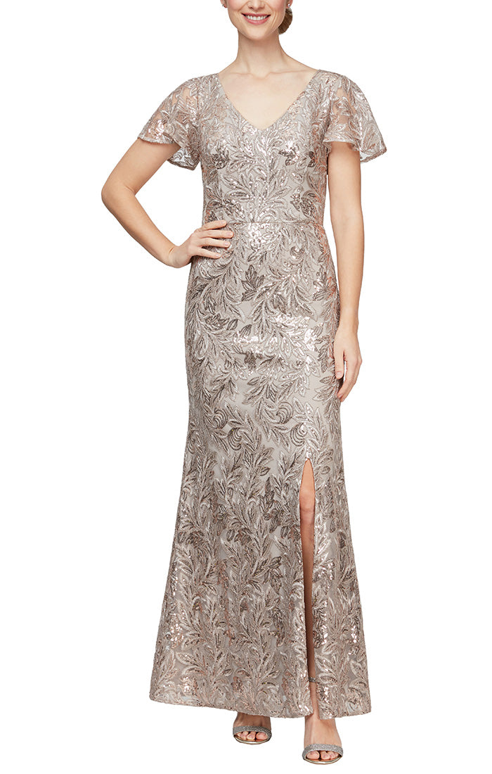 Long Embroidered V-Neck Dress With Flutter Sleeves & Sequin Detail