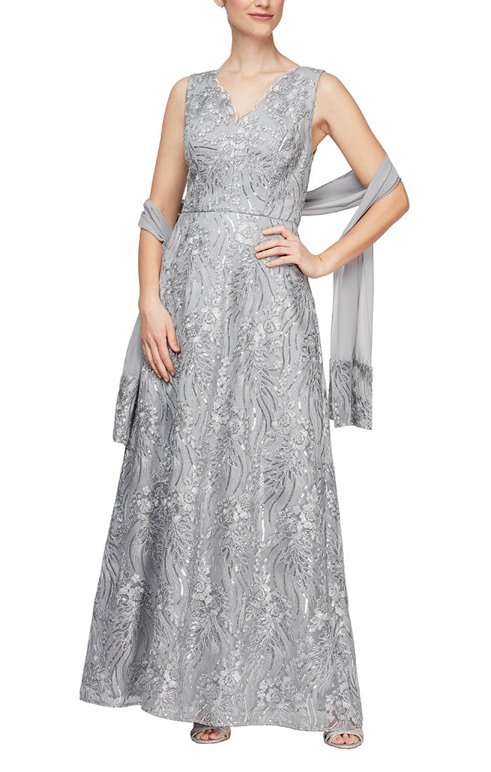 Long Sleeveless A-Line Embroidered Gown With V-Neckline & Embroidered Detail Shawl