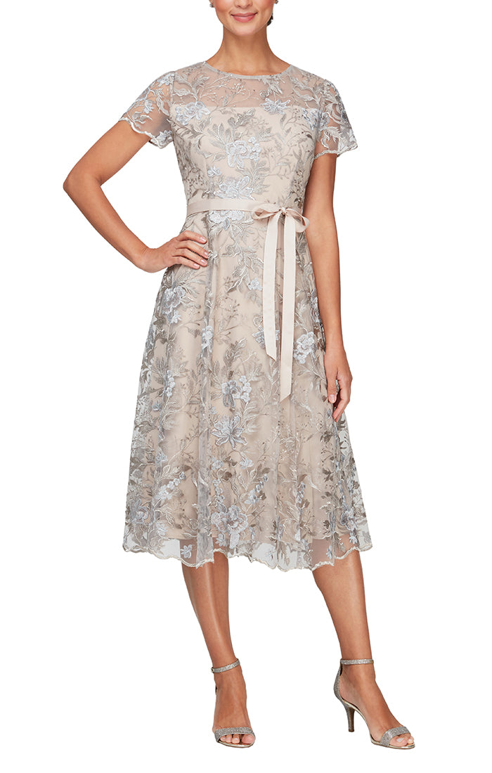 Tea-Length Embroidered Lace Cocktail Dress with Illusion Neckline