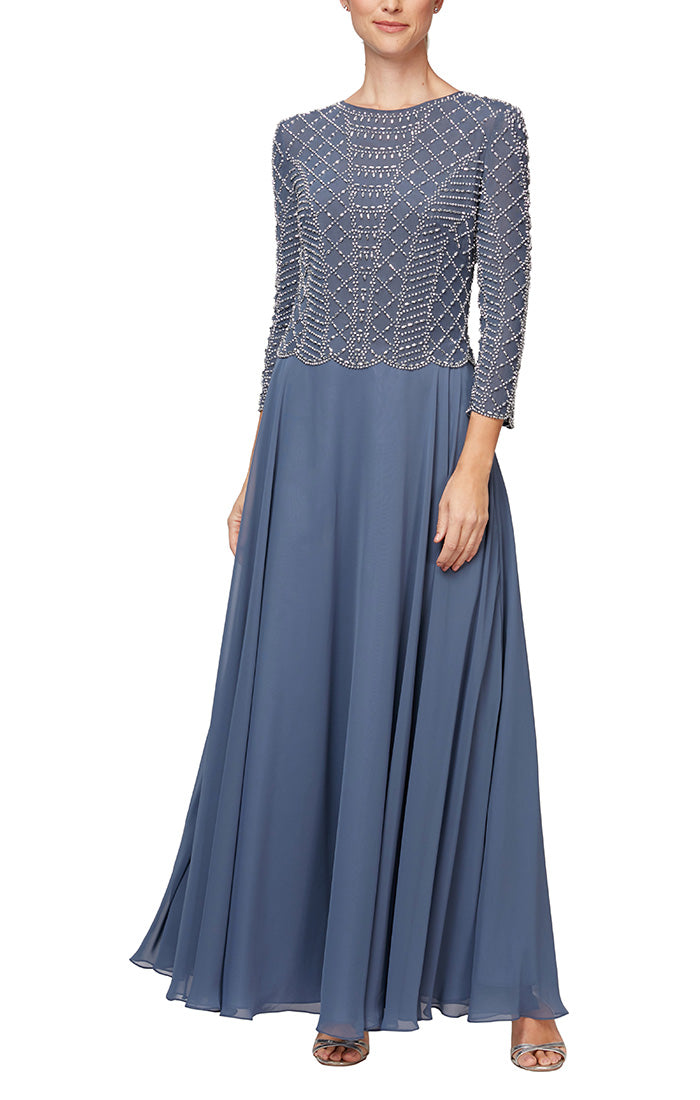 Long Mock Dress with Heat Set Detail Bodice, Full Skirt & Illusion Neckline