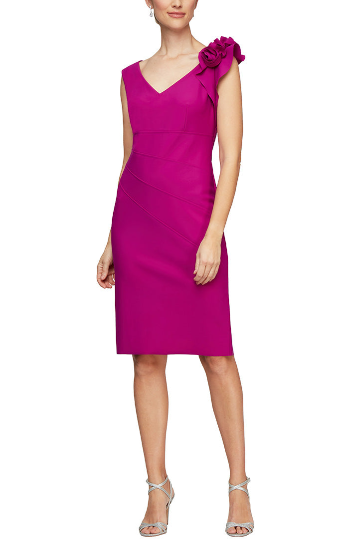 Sheath Compression Dress with Fabric Flower Detail at Shoulder