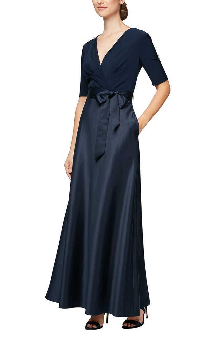 Long A-Line Ballgown With Surplice Neckline, Tie Belt, Elbow Sleeves & Pockets