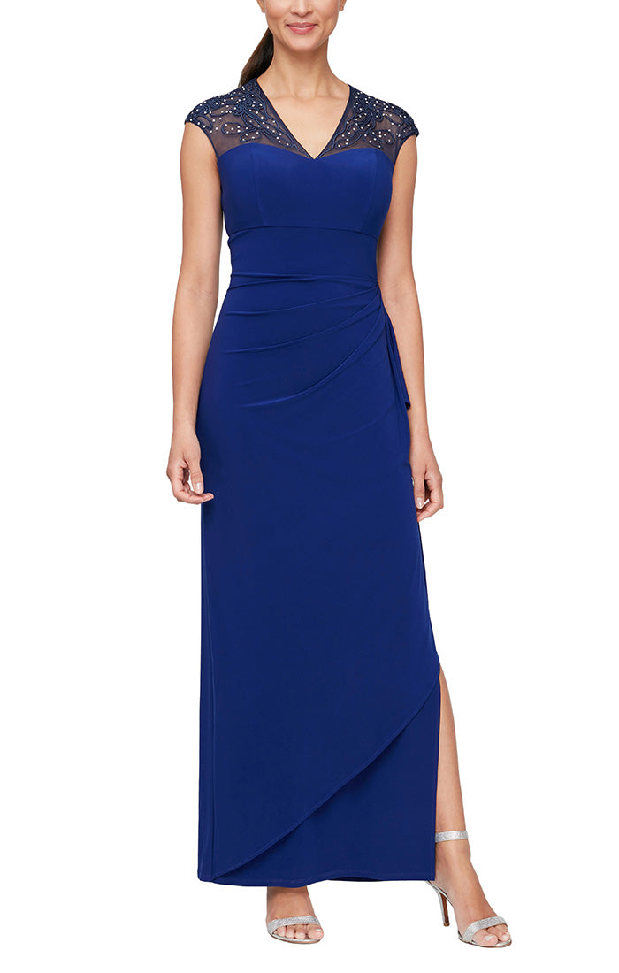 Matte Jersey Empire Waist Gown with Embellished & Embroidered Illusion Neckline/Back Detail