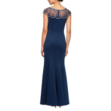 Load image into Gallery viewer, Long Sleeveless Fit & Flare Crepe Dress with Beaded Illusion Neckline