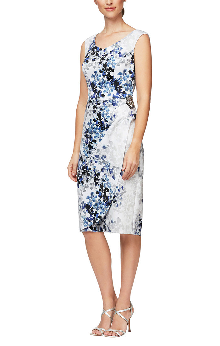 Short Printed Crepe Sheath Dress with Embellishment Hip Detail