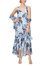 Load image into Gallery viewer, Tea Length Floral Print Burnout Chiffon V-Neck Dress with High/Low Tulip Hem Skirt & Shawl