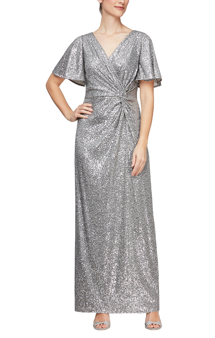 Long Column Dress with Surplice Neckline, Flutter Sleeves & Knot Waist Detail