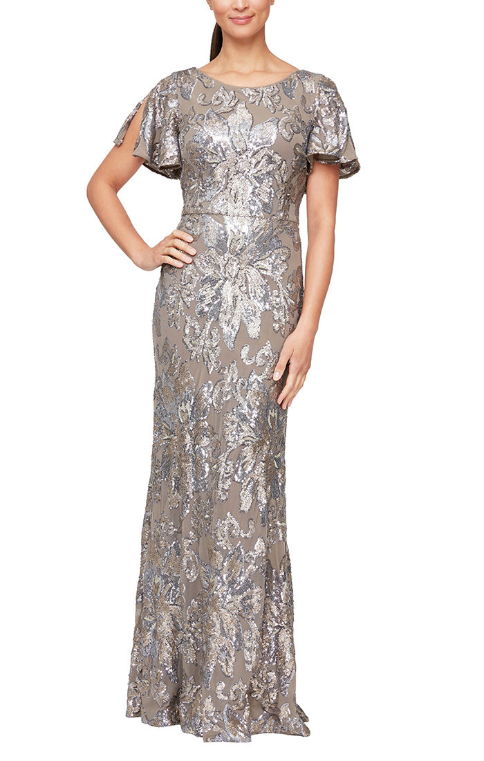 Long Fit and Flare Sequin Gown with Flutter Sleeves