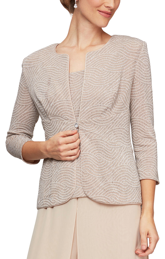 Metallic Knit Twinset With Inset Waist Detail Jacket & Scoop Neck Tank