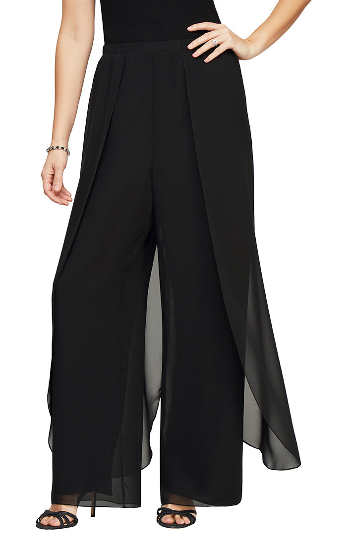 Chiffon Straight Leg Pant With Flyaway Panel Detail