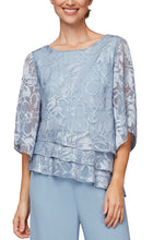 Load image into Gallery viewer, Burnout Chiffon Blouse With Asymmetrical Triple Tier Hem & Illusion Sleeves